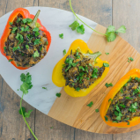 Quinoa & Lentil Stuffed Peppers with Wild Rice